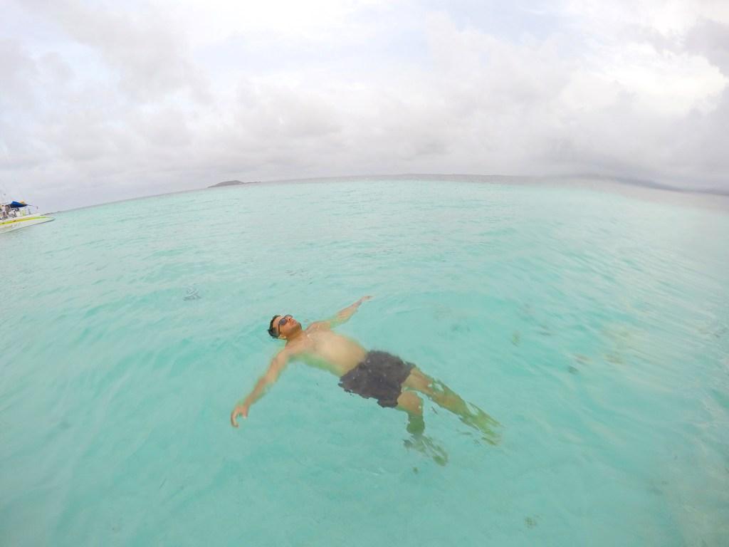 Relaxing in the ocean in Puerto Rico